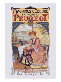 Machines a Coudre Peugeot Premium Poster || #vintage #sewing #poster #print