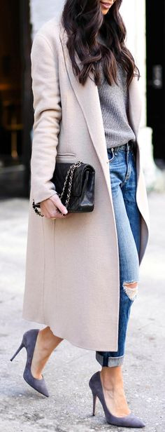 Street Style February 2015: Kat Tanita is wearing a coat from Sandro, grey sweater from J. Crew, jeans from Rag & Bone, shoes from Jean-Michel Cazabat and the bag is from Chanel
