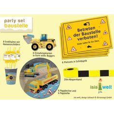 partyleihkiste.de - Das perfekte Partyset für eine Baustellenparty. Mit Tellern, Bechern, Tischset, Trinkhalmen, Einladungskarten....