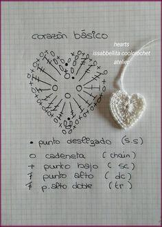 El Mundo de Mariana - Tejido Crochet Border Patterns, Crochet Diagram, Heart Patterns, Filet Crochet, Crochet Motif, Diy Crochet, Crochet Flowers, Crochet Stitches, Crochet Hooks