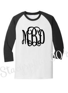 monogrammed shirt, monogrammed raglan, monogrammed longsleeve, baseball shirt, softball shirt, personalized shirt,