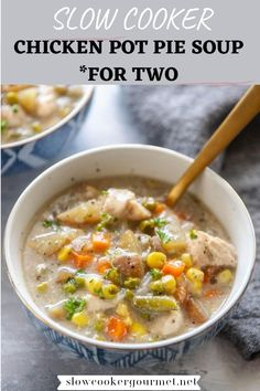 Love chicken pot pie but looking for a lightened up version? Try this quick and easy chicken pot pie soup made in the slow cooker! Only a few ingredients and a few minutes of prep time needed!