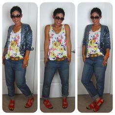 Look At Me Im Sparkalang!! Sequin Blazer   Floral Tank   Boyfriend Jeans