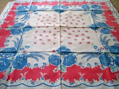Vintage Tablecloth Red and Blue Flowers