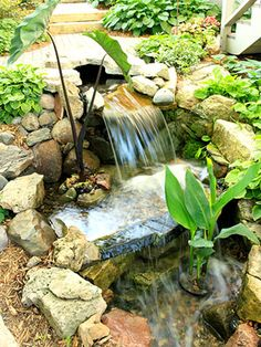 Would love a backyard waterfall! See more ideas from this gorgeous Twin Cities garden: http://www.midwestliving.com/garden/design/backyard-vacation-oasis/