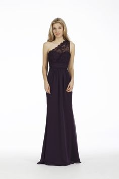Jim Hjelm does it SO right with this lace little number. Gorgeous full length, one shoulder, bridesmaid dress in Plum