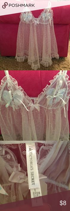 "Victoria's Secret chemise. Sz M. Victoria's Secret ""I do"" collection. Sheer White with white polka dots. Adjustable straps. EUC. NO RIPS/stains/tears. Smoke/ pet free home. Victoria's Secret Intimates & Sleepwear Chemises & Slips"