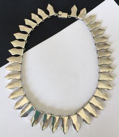 Bold Modernist Sterling Silver Pointed Concave Necklace Mexico Taxco