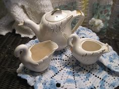 Swan TeapotCreamer and Sugar Bowls Sweet by Daysgonebytreasures, $20.00