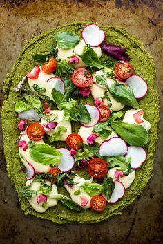 green split pea + spinach pizza with #vegan cashew mozzarella, cherry tomatoes, radishes & basil #glutenfree