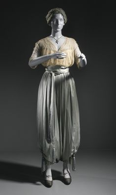 Lounging Pajamas (image 2) | Callot Soeurs | France; Paris | 1913 | silk net (tulle) and silk satin (charmeuse) with metallic-thread passementerie and silk tassels | Los Angeles County Museum | Object No.: 54.97.17
