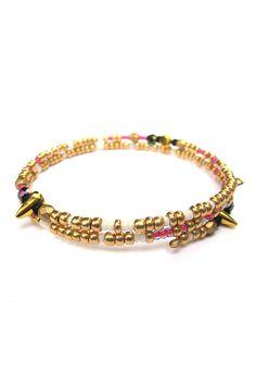Jasmine Arm Candy Gold Spike Bracelet Beaded Bracelet Memory Wire Bracelet Bangle Arm Candy