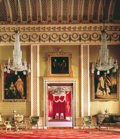Green Drawing Room leading to the Throne Room, Buckingham Palace. Broad loom Silk and cotton damask in two tones of crimson for wall covering and window drapes. Buckingham Palace, Palace Garden, The Royal Collection, Throne Room, Royal Residence, Ceiling Detail, Royal Life, Cathedral Church, Window Drapes