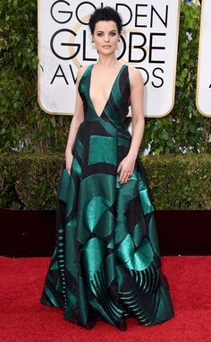 Jaimie Alexander from 2016 Golden Globes Red Carpet Arrivals  In Genny. Not my fav.