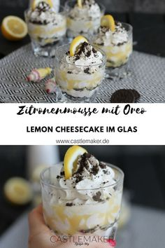Dieses köstliche Zitronenmousse mit Oreo ist schnell gemacht und perfekt als Dessert. Der kleine Lemon Cheesecake im Glas mit Lemon Curd und einer Creme aus Skyr, Schmand und Cremefine ist leicht und lecker. Die Oreo Kekse runden das ganze ab. Das Rezept gibt es auf meinem Blog. #zitronenmousse #lemoncheesecake #schichtdessert #ostern #rezept