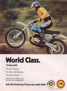 Jim Pomeroy riding Bultaco & wearing Heckel boots. Bultaco, vintage, racing MX, Motocross, endure #madeinSpain