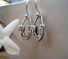 Luck Horse Shoe Earrings Sterling Silver Dangle by jodybrimhall, $34.00