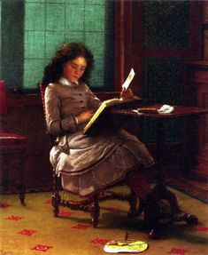 Young Girl Reading (1877), Joseph Seymour Guy (1824-1910), British-born American artist. Guy established a reputation in the United States in the mid-nineteenth century as one of the finest genre painters of children. His primarily cabinet-sized pictures were esteemed by his fellow artists and leading collectors of American art. He was widely respected for his technical ability and knowledge of the science of painting.