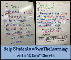 "Math Coach's Corner: Using ""I Can"" Charts to Make Learning Visible. Students become more involved in the learning when their objective is spelled out and made visible. Read how I Can charts can help students Assessment For Learning, Learning Goals, Teaching Second Grade, 3rd Grade Math, Third Grade, Teaching Strategies, Teaching Math, Teaching Ideas, Student Data Binders"