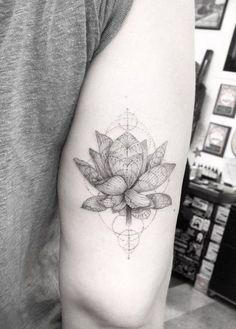 awesome Geometric Tattoo - Dr. Woo Tattoo Artist | Half Needle Tattoo | Lotus Flower I like the geometric p...