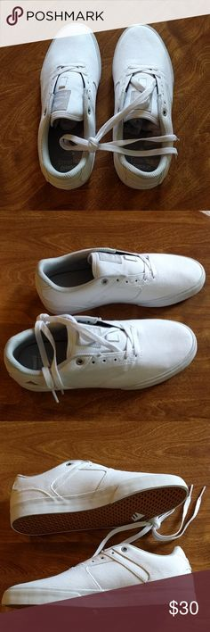 """Emerica """"The Reynolds"""" - NIB - Mens Size 8.5 Emerica """"The Reynolds"""" Low Vulc men's skate style shoes Designed by Andrew Reynolds All white canvas upper with rubber sole and breathable mesh inner lining New in Box - never been worn and comes in original packaging Men's size 8.5 Emerica Shoes Sneakers"""