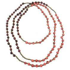 Colorblock Rope Necklace - Burgundy and Coral - Faire Collection