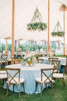 Rustic chic, dusty blue, mint and ivory wedding reception decor at a Charleston, SC tented wedding reception Photography by Aaron and Jillian Photography // Plan & Design by Sweetgrass Social // Florals by Branch Design Studio // Tent by Sperry Tents Blue Wedding Receptions, Wedding Reception Decorations, Wedding Centerpieces, Wedding Venues, Aisle Decorations, Marquee Wedding, Tent Wedding, Wedding Table, Wedding Day