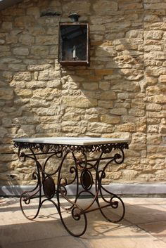 Stylish 1950s French patisserie table with original marble top, from Decorative Collective member, Brownrigg