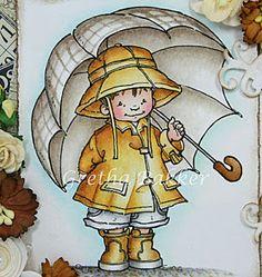 "Corner of the map Gretha: Mo Manning ""Sunshine"" -  Distress inks: skin (skin) - tattered rose, vintage photo, worn lipstick raincoat, hat & boots (raincoat, hat & boots) - scattered straw, vintage photo pants (trousers) - black soot umbrella (umbrella) - pumice stone background (background) - tumbled glass ground (ground) - black soot, vintage photo"