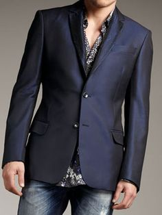 #LoveThis shiny navy blazer by Just Cavalli -- Nieman Marcus for $1,075. Expensive Suits, Expensive Clothes, Mens Boots Fashion, Mens Fashion Week, Fashion Vest, Mens Trends, Suit Fabric, Urban Fashion, Menswear