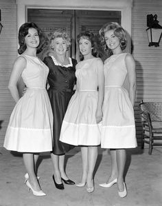 The original 1963 cast of Petticoat Junction included (from left): Patricia Woodell, Bea Benaderet, Linda Kaye Henning & Sharon Tate — YES! Sharon Tate! Director Martin Ransohoff believed that she lacked confidence and the role was given to Jeannine Riley.