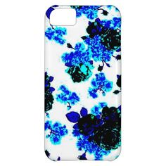 Cute Blue Abstract Floral Case Cover For iPhone 5C