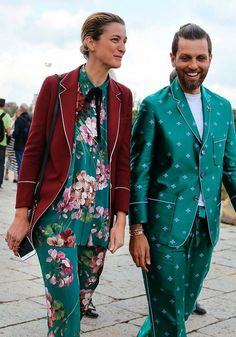 Gucci ensembles spotted on the street at Milan Fashion Week. Photographed by Phil Oh.