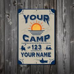 Camping lot metal signs, custom with your name, camp, lake or resort. Great camping gift, recreational signs, Made in the USA, Free Shipping by RightSideOutShirts on Etsy
