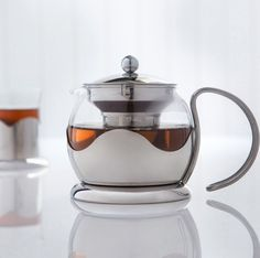 Teapot Infuser Glass And Stainless 1.1-1.5 Litres  Cup 8+Loose Tea Or Tea Bags