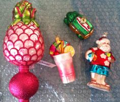 New christmas ornaments and tree topper from hawaii