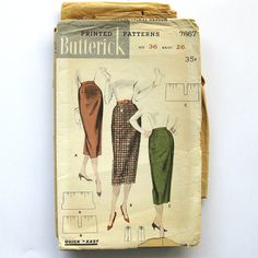 1950s Vintage Sewing Pattern Butterick 7867 One by SelvedgeShop