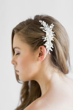 LUNA | Floral Wedding Hair Comb - Percy Handmade | Bridal Headpieces, Wedding Veils and Bridal Hair Accessories