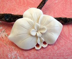 Moth Orchid Carved Bone Cabochon by Indounik on Etsy