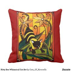 Kitty Bee Whimsical Cat Art Throw Pillow