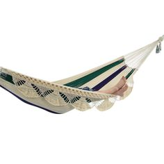 Nicaraguan Deluxe Hammock in Blue, White and Green Stripes