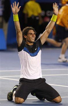 Nadal Takes the Australian Open Trophy From Defending Champion Roger Federer.  #tennis #ausopen #nadal