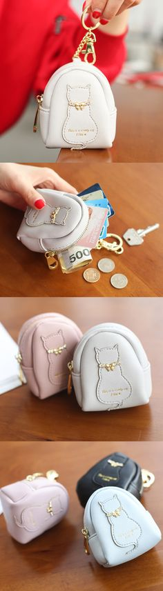 US$7.06  Women Cute Cat Coin Bag PU Leather Animal Shape Key Bag
