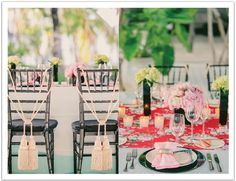 Creative chair backs. Chinese influences blended with art deco pieces created a beautiful tablescape.