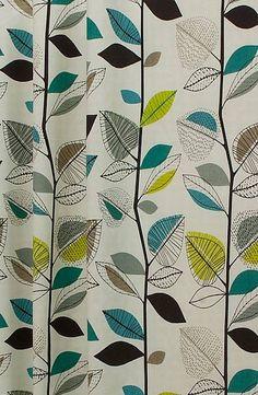autumn leaves teal, Scandinavian inspired graphic print, £14 per metre.