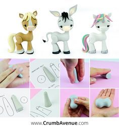 Donkey Cake Topper TUTORIAL (with Horse & Unicorn Topper Supplement) Horse / Unicorn / Donkey PDF Cake Topper Tutorial with TEMPLATES – You can Use these templates to make any horse-like animal 🙂 / cute, fondant, figurine, standingFor clay proje Cake Topper Tutorial, Fondant Tutorial, Fondant Animals, Clay Animals, Horse Cake, Unicorn Cake Topper, Unicorn Cake Template, Fondant Toppers, Fondant Cupcakes