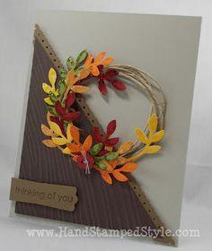 Bird punch, linen thread, wood grain embossing folder, big shot, wreath card