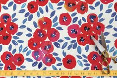 Cute red little flowers Fabric by Alexandra Dzh | Minted