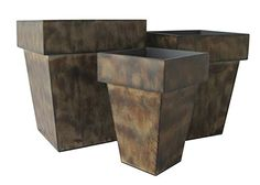 Cheungs Rattan FP36153 Tapered Bronze Planters Set of 3 Tall *** Details can be found by clicking on the image.