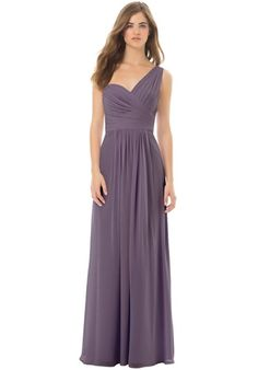Bill Levkoff Chiffon gown with one wide shoulder strap. Ruching and pleats adorn the bodice. Front and back gathers accent the skirt.